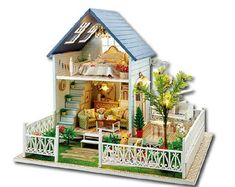 Online Shop Hot Sale DIY Doll House Wooden Miniatura Doll Houses Miniature dollhouse With Furniture Kit Villa LED Lights Gift For Kids Girl Diy Miniature Dollhouse, Dollhouse Toys, Wooden Dollhouse, Wooden Dolls, Miniature Dolls, Dollhouse Miniatures, Dollhouse Interiors, Villa Am Meer, Patio Kits