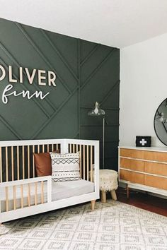Let's talk about Nursery Accent Wall Ideas today! A well designed accent wall truly has the ability to transform the feel of the whole room. Small Rooms, Small Spaces, Accent Wall Colors, Accent Wall Nursery, Small Nurseries, Accent Walls In Living Room, Fireplace Wall, Room Wallpaper, Nursery Design