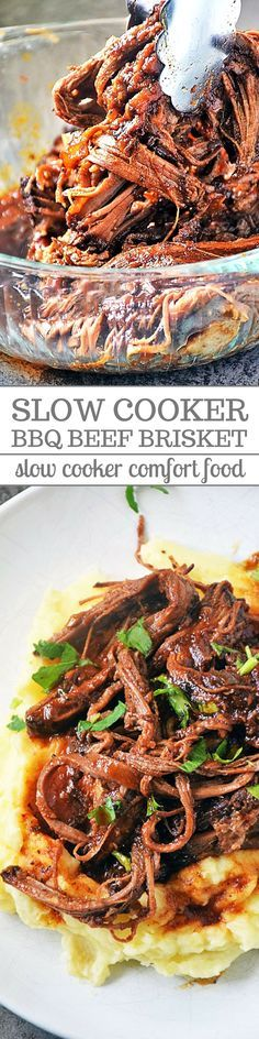 Beef Brisket cooked in a slow cooker with a homemade, tangy BBQ sauce and served over creamy, garlic mashed potatoes is one of my favorite comfort food recipes. It's an easy recipe and the leftovers are great for using in recipes throughout the week. #beefbrisket #slowcooker #sundaysupper