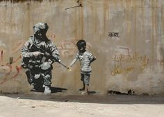 Banksy and his originality during wars in the street. He manages to give you an idea of something with the landscape of the wall and his painting. Very talented.