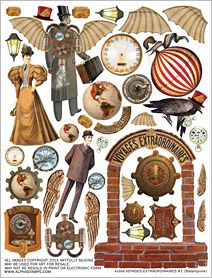 Voyages Extraordinaires #1 Collage Sheet- Use ideas to dress the Boyd's bears. Love the sign