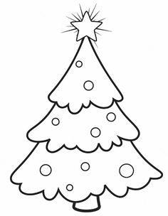 Christmas Tree Pictures to Color and Draw for Preschool