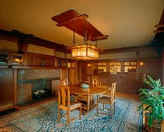 1908 american foursquare house | dining room at gamble house a residential american home built in 1908 ...