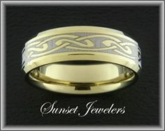 18kt Yellow Gold Plated Tungsten Wedding Rings with Free Inside Engraving! www.sunsetjewelers.com