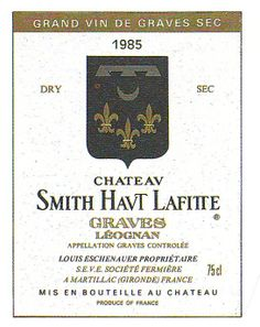 Chateau Smith Havt Lafite Graves 1985 French Wine Label