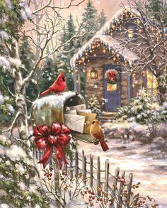 Come to Yuletide Cottage and cozy up! This piece puzzle from Springbok depicts a holiday cottage full of yuletide cheer with crisp white snow, a cheerful snowman, and a warm glow emitting from the cottage home interior. Christmas Scenes, Christmas Past, Country Christmas, Winter Christmas, Christmas Crafts, Christmas Decorations, Xmas, Cottage Christmas, Primitive Christmas