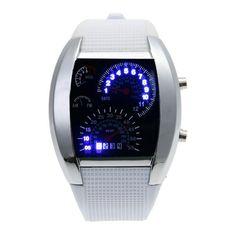 Fashion Man LED Watch New Design Speedometer Digital Wrist Watches Leather Band Clock reloj hombre