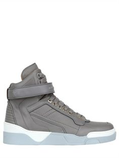 GIVENCHY - MATTE LEATHER HIGH TOP SNEAKERS