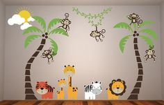 Sale 5 Monkeys Swinging from 2 palm trees and a Vine Vinyl wall decal With a Lion Tiger Giraffe and a Zebra. wall Graphics Jungle Friends. $285.00, via Etsy.