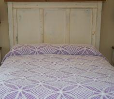 Vintage Chenille Queen Bedspread - Purple/Mauve/Lilac/Lavender edged with white fringe