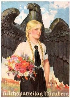 Picturesque Nazism - for children.  Flowers, pretty child, Rapunzel's tower; oh, and a massive  eagle looking for world domination. (Germany, 1930s)