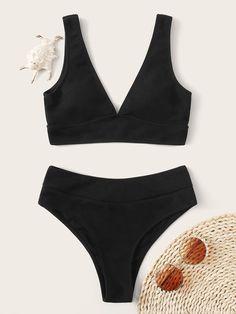 Rib High Waisted Bikini SwimsuitCheck out this Rib High Waisted Bikini Swimsuit on Romwe and explore more to meet your fashion needs! Bikini Inspiration, Summer Bathing Suits, Cute Bathing Suits, Cute Swimsuits, Cute Bikinis, Bikini Sets, Bikini Swimsuit, Usa Bikini, Bandeau Bikini