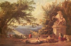La terrasse de Marly, vue par Hubert Robert, seconde moitié du XVIIIe siècle.