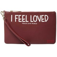Peace Love World Women's Imprinted Wristlet Clutch - Red (€15) ❤ liked on Polyvore featuring bags, handbags, clutches, red, zipper purse, faux leather purses, red handbags, red wristlet and vegan leather purses