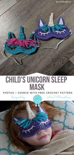 Child's Unicorn Sleep Mask Free Crochet Pattern #crochetunicorn