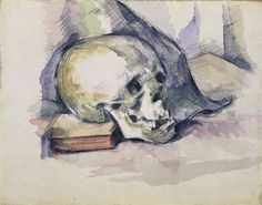 Skull and Book 1885 by Paul Cezanne Paintings Manet, Watercolor Techniques, Painting Techniques, Watercolor Flowers, Watercolor Paintings, Watercolours, Oil Paintings, Fall Canvas Painting, Skull Painting