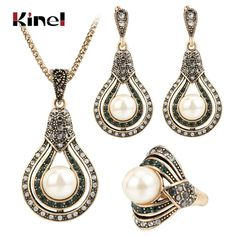 Discount Today $5.74, Buy Kinel 3Pcs Vintage Jewelry Sets For Women Antique Gold Pearl Earrings Necklace Ring Wedding Party Female Turkish Jewelry