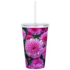 Purple Mums Acrylic Double-wall Tumbler