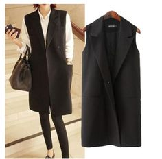 Fashion Women's Elegant Middle long Design Sleevless  Blazer Vest Waistcoat on Aliexpress