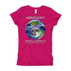 Girls Solar Eclipse Short Sleeve T-Shirt - Kentucky - Earth/Moon - Path of Totality August 21, 2017