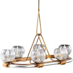 Brass, Bronze and Glass Italian Chandelier image 2