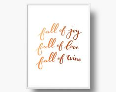 Joy, Love and Wine - Copper Foil Holiday Art Print // Twofold Shop #Calligraphy #christmasartprint