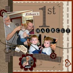 1st haircut scrapbook page | Ethan's First Haircut - Digital Scrapbook Place Gallery