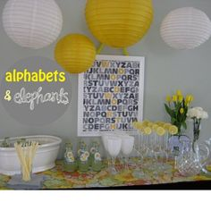 yellow and gray alphabet by etsy   Entertain Exchange: Yellow And Gray Elephant Baby Shower