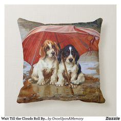 Wait Till the Clouds Roll By W.H. Trood cute dogs Throw Pillow