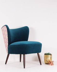 A newly made, vintage style cocktail chair designed for contract, hospitality and interior design projects in Wemyss Teal velvet. Chair Bed, Diy Chair, Eclectic Furniture, Furniture Design, Funky Chairs, Pedicure Chairs For Sale, Cocktail Chair, Patterned Armchair, Wayfair Living Room Chairs