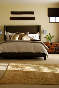 Contemporary style with an Asian influence.Contemporary bedroom.