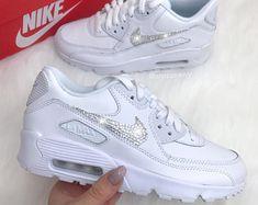 Swarovski Nike Womens Girls Air 270 Customized With Swarovski All White Sneakers, White Nike Shoes, Pink Sneakers, White Nikes, Nike Air Max 90s, Air Max 90 Premium, Bling Nike Shoes, Nike Air Shoes, Nike Shoes Girls Kids