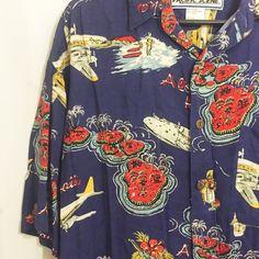 Pacific Scene Men's Shirt XL Blue Aloha Hawaii Islands Airplanes Surfers Luau #PacificScene #Hawaiian