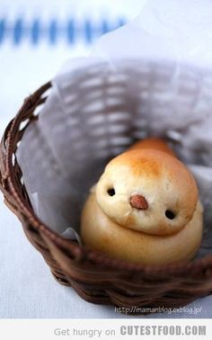 Rolls for Easter Dinner. I should be pinning this under recipes to try but how could I get myself to eat this adorable roll? Cute Food, Good Food, Yummy Food, Holiday Treats, Holiday Recipes, Holiday Parties, Brunch, Eat This, Food Humor