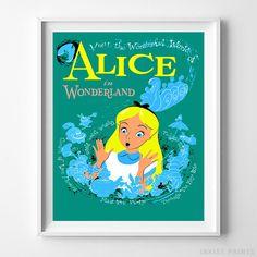 Disneyland Art, Alice in Wonderland, Disneyland Alice, Fantasyland, Vintage Disneyland, Disney Poster, Disneyland Print, Christmas Gift by InkistPrints on Etsy https://www.etsy.com/listing/247084792/disneyland-art-alice-in-wonderland