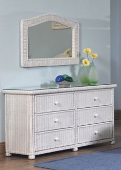 Elana Wicker 6 Drawer Dresser #white #wicker #furniture Pinned by wickerparadise.com