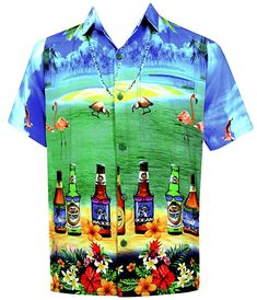 d98b8fa0a LA LEELA Men's Aloha Hawaiian Shirt Short Sleeve Button Down Casual Beach  Party at Amazon Men's