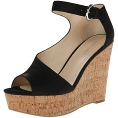 Nine West Women's Adyssinian Nubuck Wedge Sandal ($49) ❤ liked on Polyvore featuring shoes, sandals, platform shoes, ankle tie sandals, ankle tie wedge sandals, cork platform sandals and ankle strap platform sandals