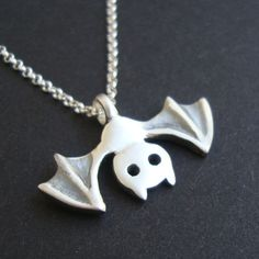 Bat Necklace Jewelry Vampire Goth sterling silver Teen gift Girl Woman Boy Holidays Black White mom. $36.00, via Etsy.