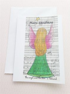 An Angel & A Star Greetings Card. Perfect Christmas card for mothers, daughters, family and friends. Give a guardian angel this Christmas!