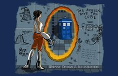 In Need of a Companion: Crossover illustration depicting both the Portal and Doctor Who fandoms