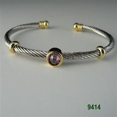 Amethyst Mini Two Tone Round CZ Cable Bracelet