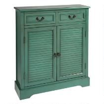 Green 2-Drawer/2-Door Louvre Cabinet