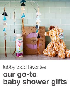Our go-to gifts for baby showers. #tubbytodd #babyshower #sollybaby