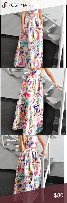 Latiste Garden Print set Two piece crop top and skirt set with beautiful floral garden pattern Latiste Dresses