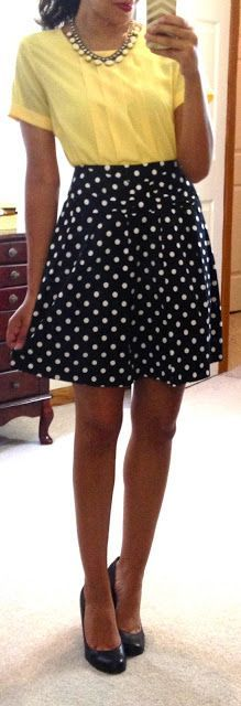 Love the polka dot skirt and the style of the blouse. Not a fan of the color of the blouse