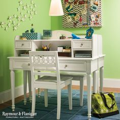 Sometimes you have to get creative to fit two desks into one room for the kids. This back-to-back arrangement makes the most of limited wall space and helps each child stay organized.