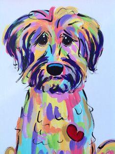 Dog Art / Dog Painting / Dog Portrait / Whimsical Dog / Custom Painting / Vibrant / Debby Carman /  Faux Paw Productions