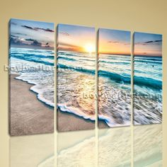 "Huge High Quality Giclee Prints On Canvas Contemporary Landscape Beach Ocean Extra Large Wall Art, Gallery Wrapped, by Bo Yi Gallery 51""x36"". Huge High Quality Giclee Prints On Canvas Contemporary Landscape Beach Ocean Subject : Beach Style : Photography Panels : 4 Detail Size : 12""x36""x4 Overall Size : 51""x36"" = 130cm x 91cm Medium : Giclee Print On Canvas Condition : Brand New Frames : Gallery wrapped [FEATURES] Lightweight and easy to hang. High revolution giclee artwork/photograph…"