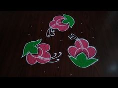 How to draw latest beautiful flowers rangoli only with dots